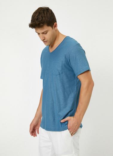 Koton V Yaka Cebi Flamli Slim Fit Basic T-Shirt Mavi